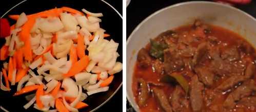 говядина тушеная с черносливом, морковью и луком