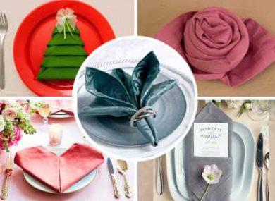 как красиво сложить салфетки на праздничный стол схемы