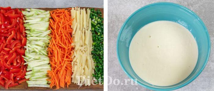 кабачковые блинчики с овощами