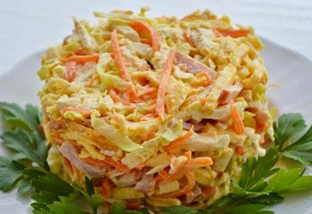 Салат курица корейская морковь сыр яйца