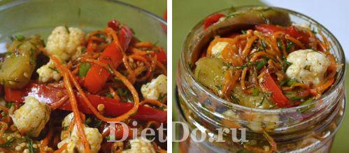 салат из цветной капусты с баклажанами на зиму