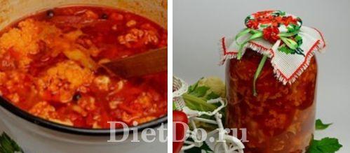 Салат из цветной капусты на зиму с томатной пастой без стерилизации