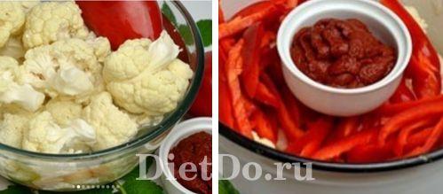 Салат из цветной капусты на зиму с томатной пастой