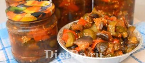 салат с баклажанами и огурцами на зиму рецепт