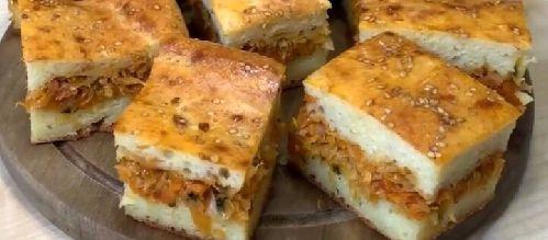 заливной пирог с начинкой из тушеной капусты рецепт