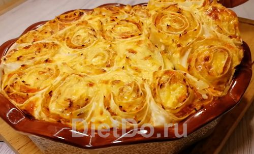 заливной капустный пирог из лаваша в духовке