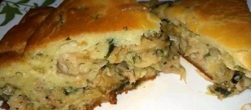 заливной пирог на кефире с капустой и фаршем рецепт