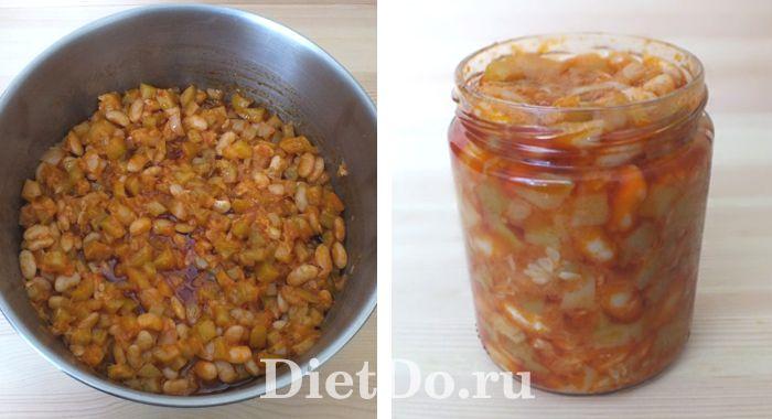кабачки с фасолью в томате на зиму пошаговый рецепт с фото