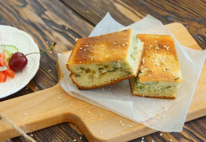 Заливной капустный пирог на кефире рецепт