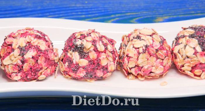 диетические конфеты из овсянки и ягод