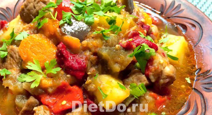 рагу из кабачков и баклажанов и картофеля с мясом