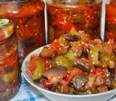 салат из баклажанов и огурцов на зиму рецепт