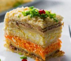закусочный торт из готовых коржей на праздничный стол